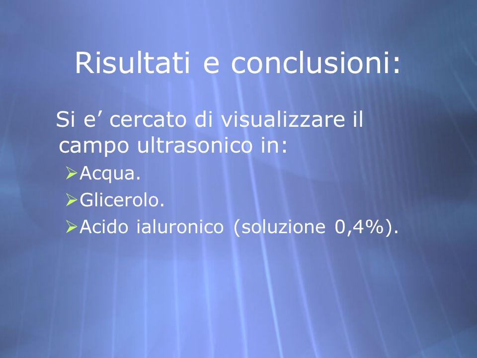 Risultati e conclusioni: Si e cercato di visualizzare il campo ultrasonico in: Acqua. Glicerolo. Acido ialuronico (soluzione 0,4%). Si e cercato di vi
