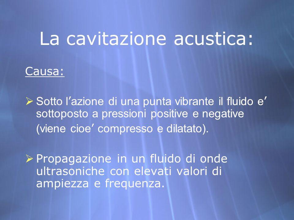 La cavitazione acustica: Causa: Sotto l azione di una punta vibrante il fluido e sottoposto a pressioni positive e negative (viene cioe compresso e di