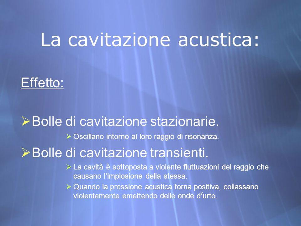 La cavitazione acustica: Effetto: Bolle di cavitazione stazionarie. Oscillano intorno al loro raggio di risonanza. Bolle di cavitazione transienti. La