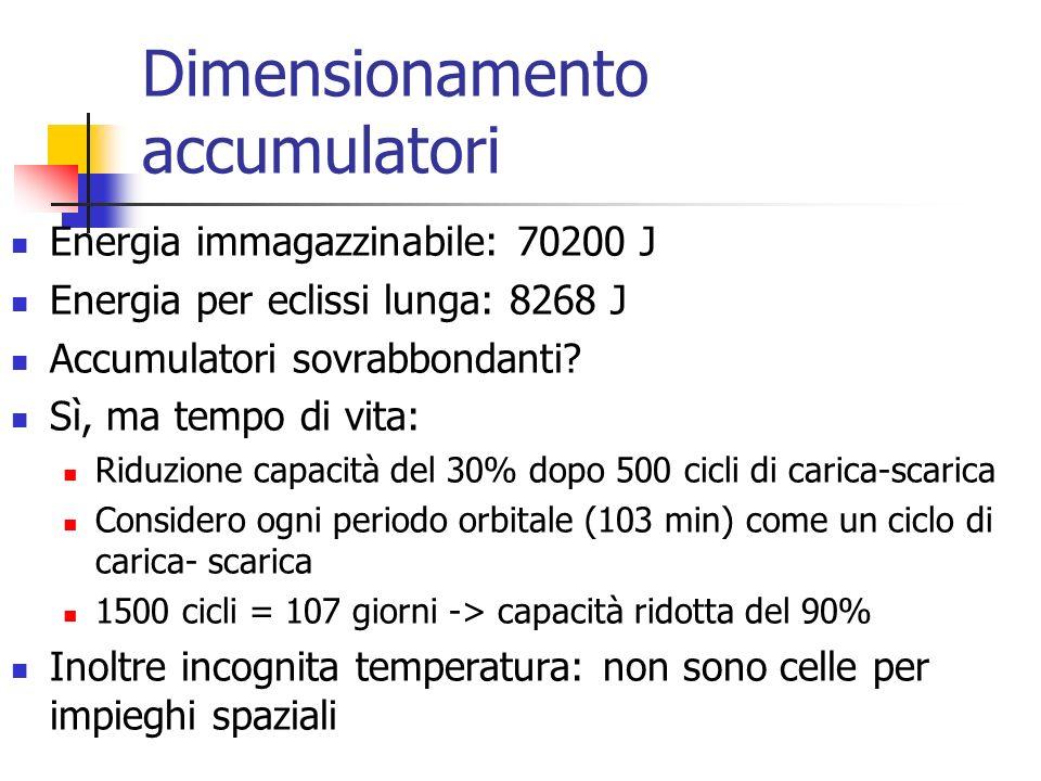 Dimensionamento accumulatori Energia immagazzinabile: 70200 J Energia per eclissi lunga: 8268 J Accumulatori sovrabbondanti? Sì, ma tempo di vita: Rid