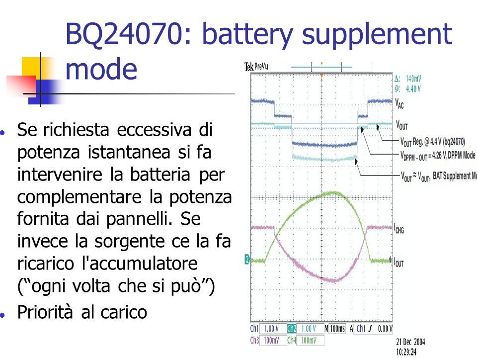 BQ24070: battery supplement mode Se richiesta eccessiva di potenza istantanea si fa intervenire la batteria per complementare la potenza fornita dai p