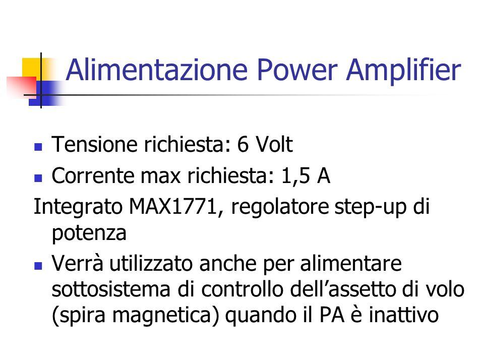 Alimentazione Power Amplifier Tensione richiesta: 6 Volt Corrente max richiesta: 1,5 A Integrato MAX1771, regolatore step-up di potenza Verrà utilizza