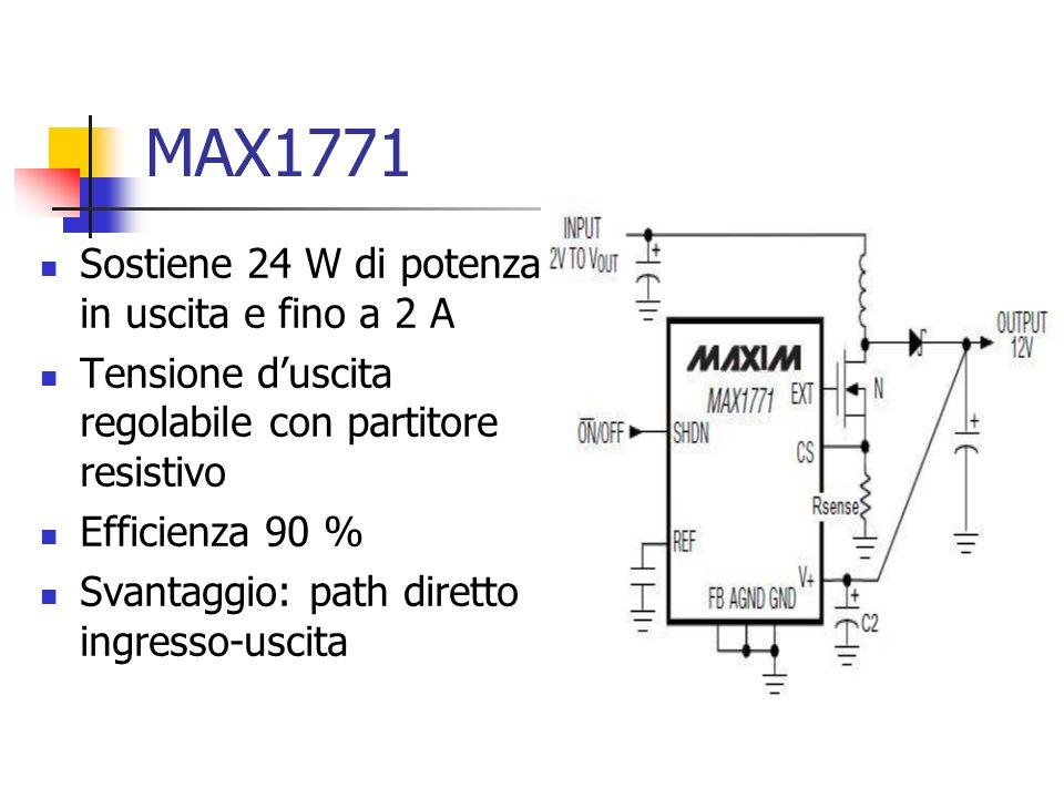 MAX1771 Sostiene 24 W di potenza in uscita e fino a 2 A Tensione duscita regolabile con partitore resistivo Efficienza 90 % Svantaggio: path diretto i