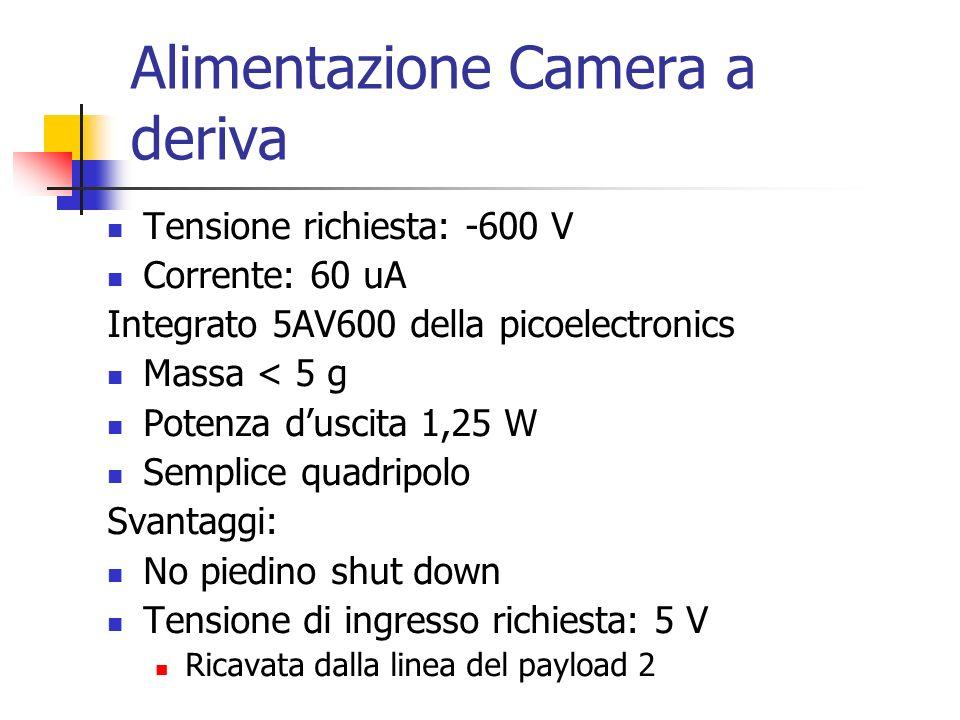 Alimentazione Camera a deriva Tensione richiesta: -600 V Corrente: 60 uA Integrato 5AV600 della picoelectronics Massa < 5 g Potenza duscita 1,25 W Sem