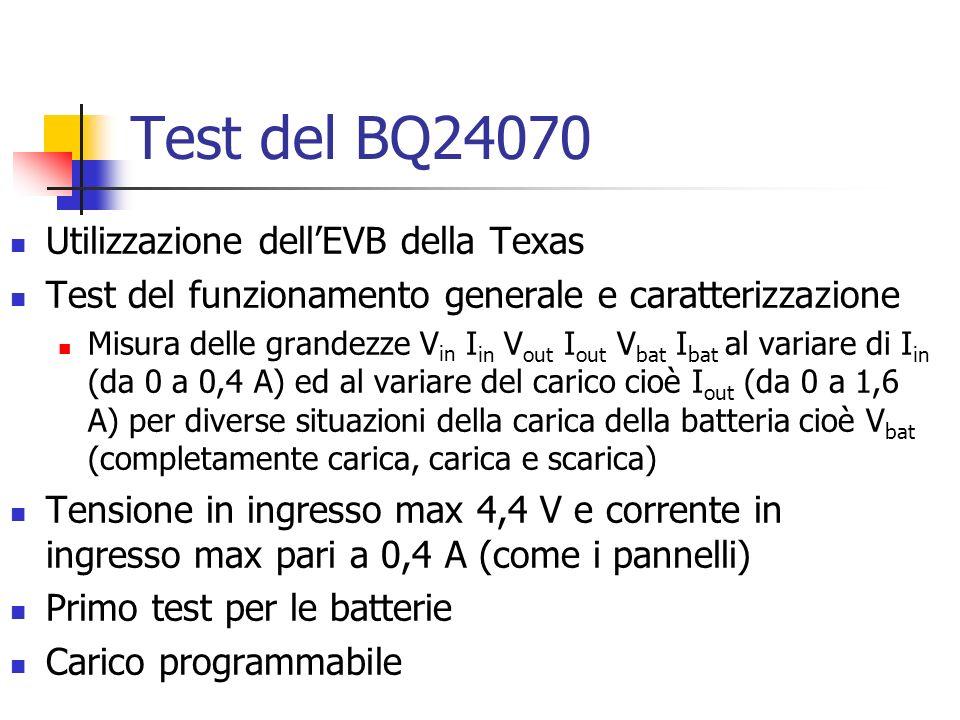 Test del BQ24070 Utilizzazione dellEVB della Texas Test del funzionamento generale e caratterizzazione Misura delle grandezze V in I in V out I out V