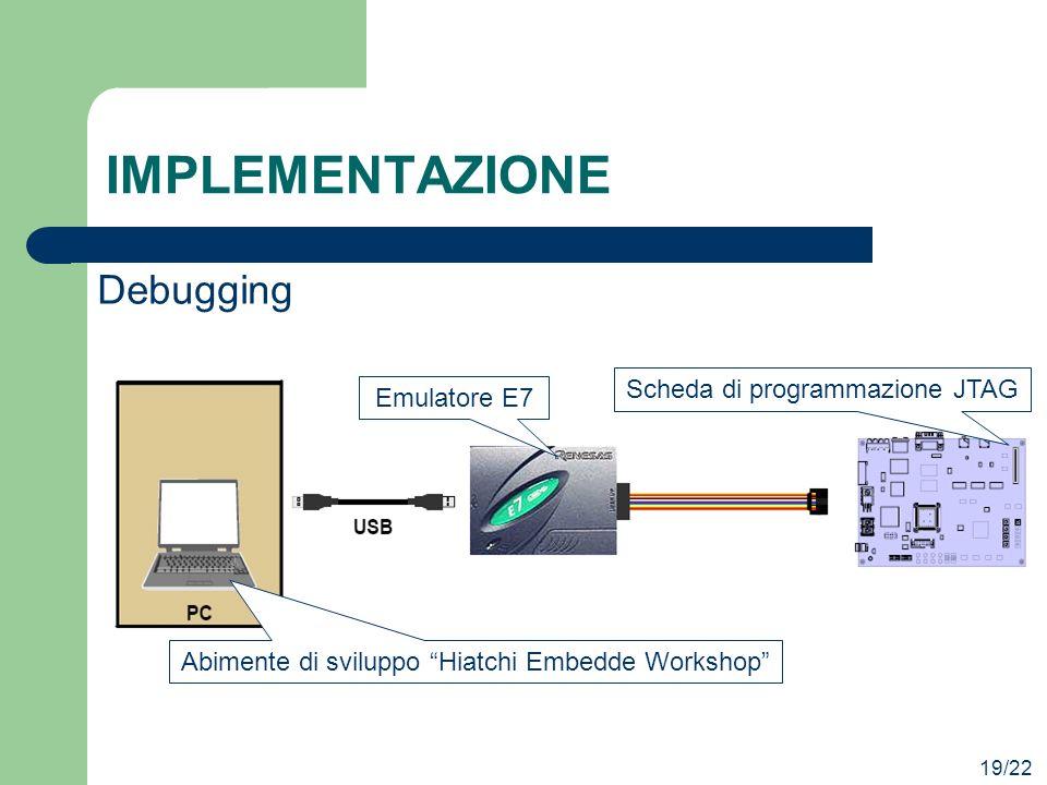 IMPLEMENTAZIONE 19/22 Debugging Scheda di programmazione JTAG Emulatore E7 Abimente di sviluppo Hiatchi Embedde Workshop