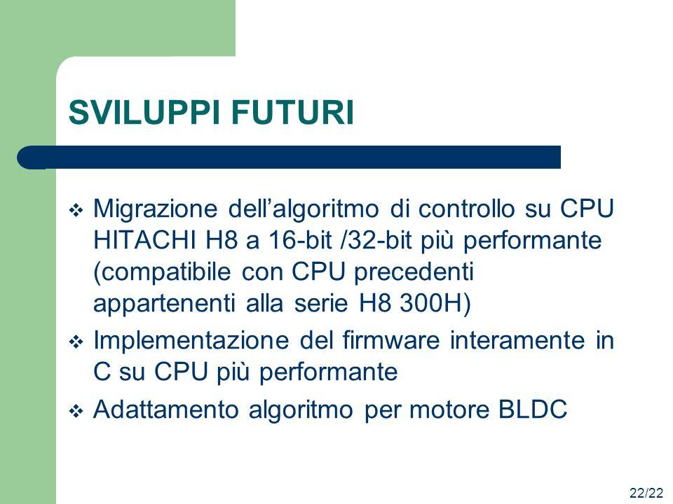 SVILUPPI FUTURI Migrazione dellalgoritmo di controllo su CPU HITACHI H8 a 16-bit /32-bit più performante (compatibile con CPU precedenti appartenenti