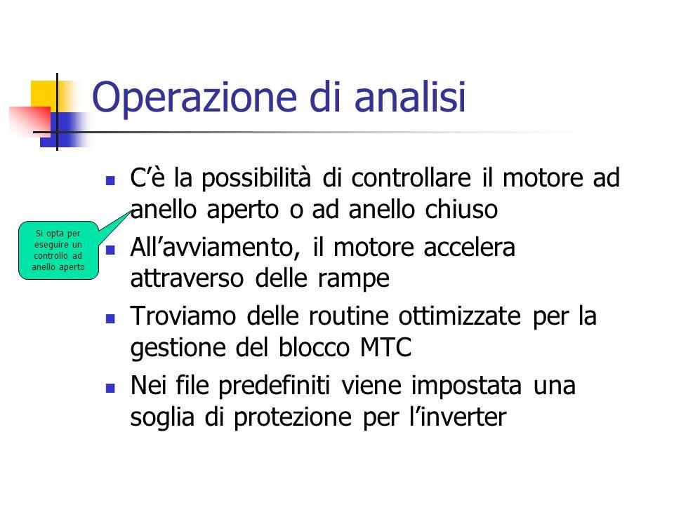 Operazione di analisi Cè la possibilità di controllare il motore ad anello aperto o ad anello chiuso Allavviamento, il motore accelera attraverso dell
