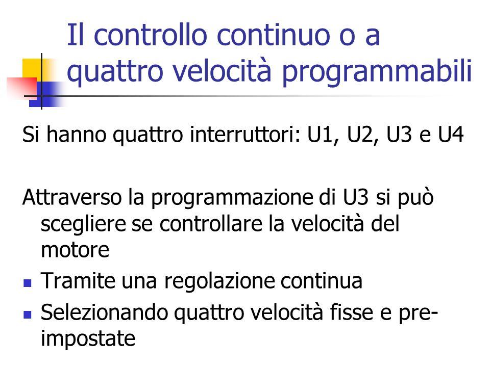 Il controllo continuo o a quattro velocità programmabili Si hanno quattro interruttori: U1, U2, U3 e U4 Attraverso la programmazione di U3 si può sceg