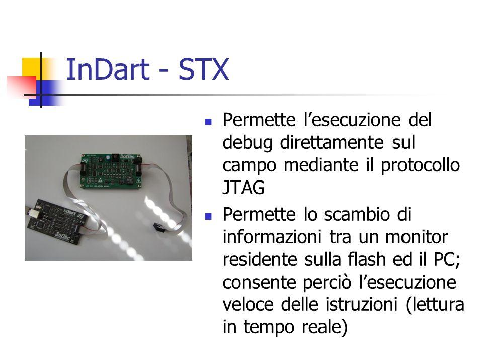 InDart - STX Permette lesecuzione del debug direttamente sul campo mediante il protocollo JTAG Permette lo scambio di informazioni tra un monitor resi