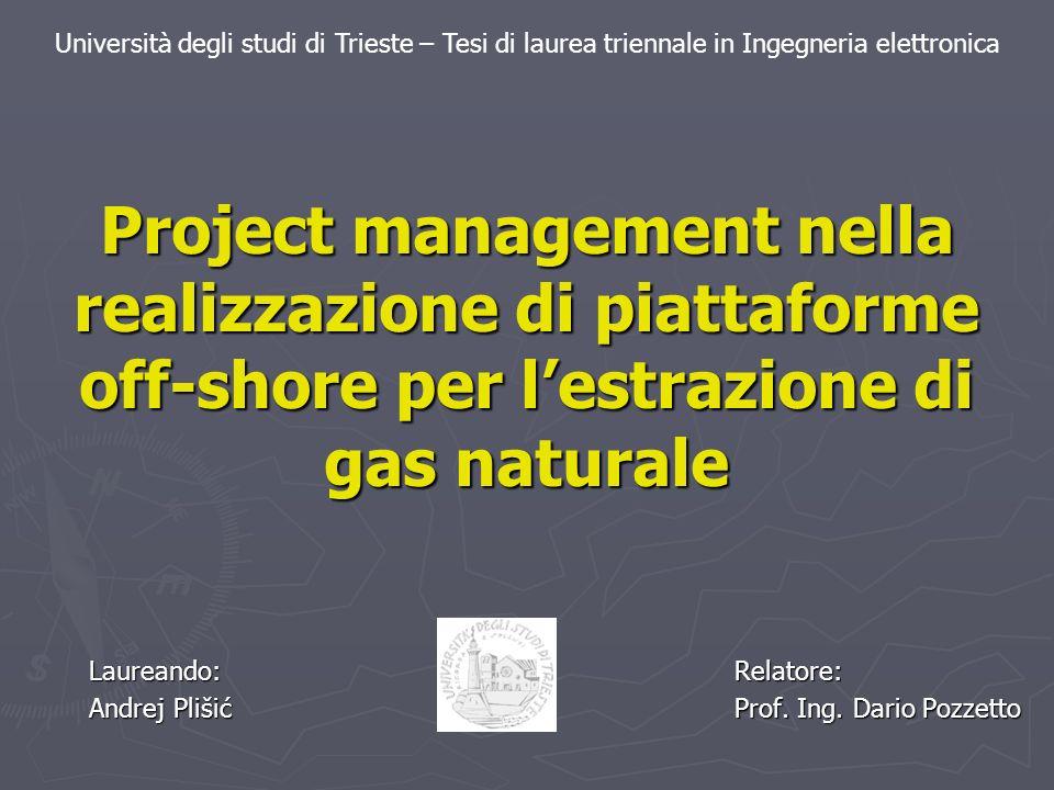 Introduzione Obiettivo: Obiettivo: Sviluppo del Project management nella realizzazione della piattaforma off-shore con focalizzazione sul problema di scostamento nel tempo del progetto.
