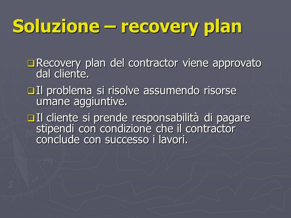 Soluzione – recovery plan Recovery plan del contractor viene approvato dal cliente. Recovery plan del contractor viene approvato dal cliente. Il probl