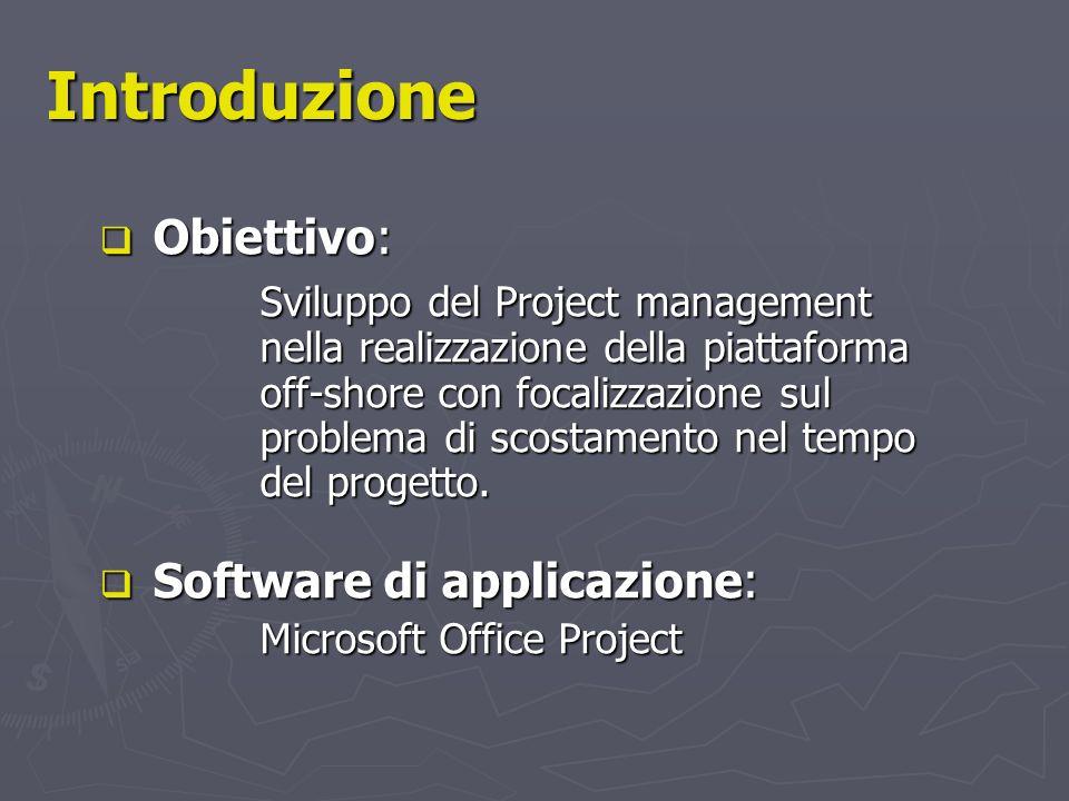 Introduzione Obiettivo: Obiettivo: Sviluppo del Project management nella realizzazione della piattaforma off-shore con focalizzazione sul problema di