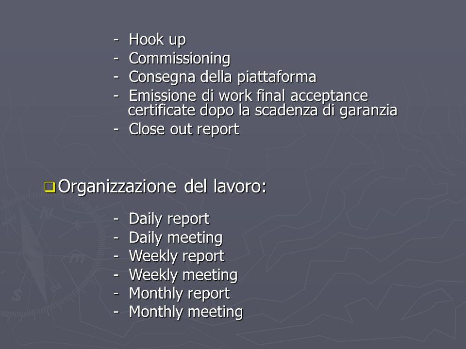 - Hook up - Commissioning - Consegna della piattaforma - Emissione di work final acceptance certificate dopo la scadenza di garanzia - Close out repor