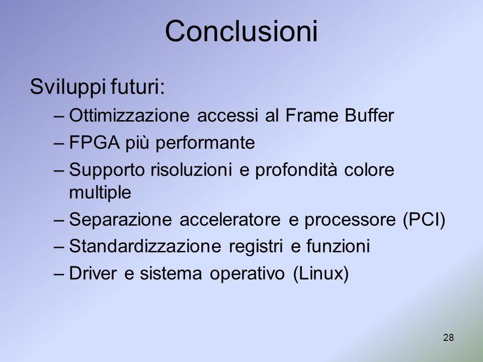 28 Conclusioni Sviluppi futuri: –Ottimizzazione accessi al Frame Buffer –FPGA più performante –Supporto risoluzioni e profondità colore multiple –Sepa