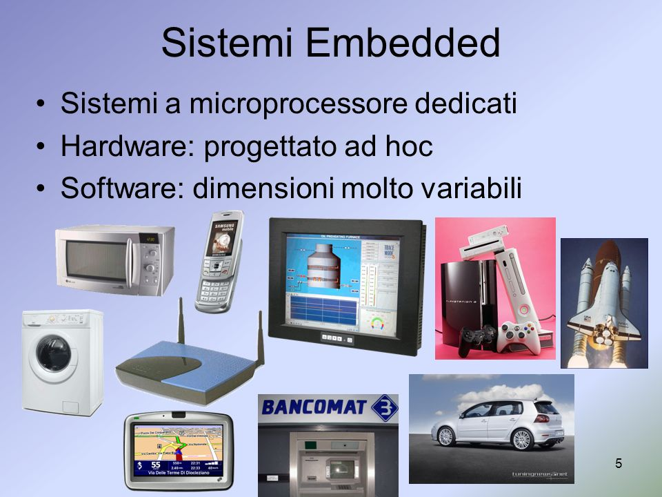 5 Sistemi Embedded Sistemi a microprocessore dedicati Hardware: progettato ad hoc Software: dimensioni molto variabili