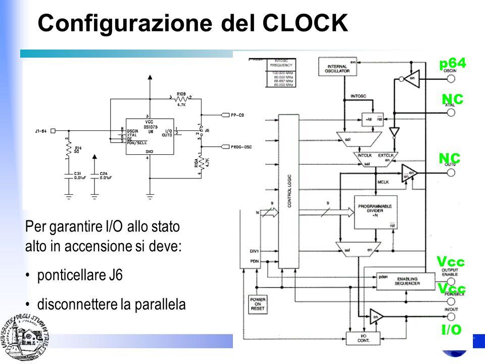 Configurazione del CLOCK Se in fase di accensione la linea I/O risulta alta il disp. si mette in uno stato di attesa per una configurazione che gli ve