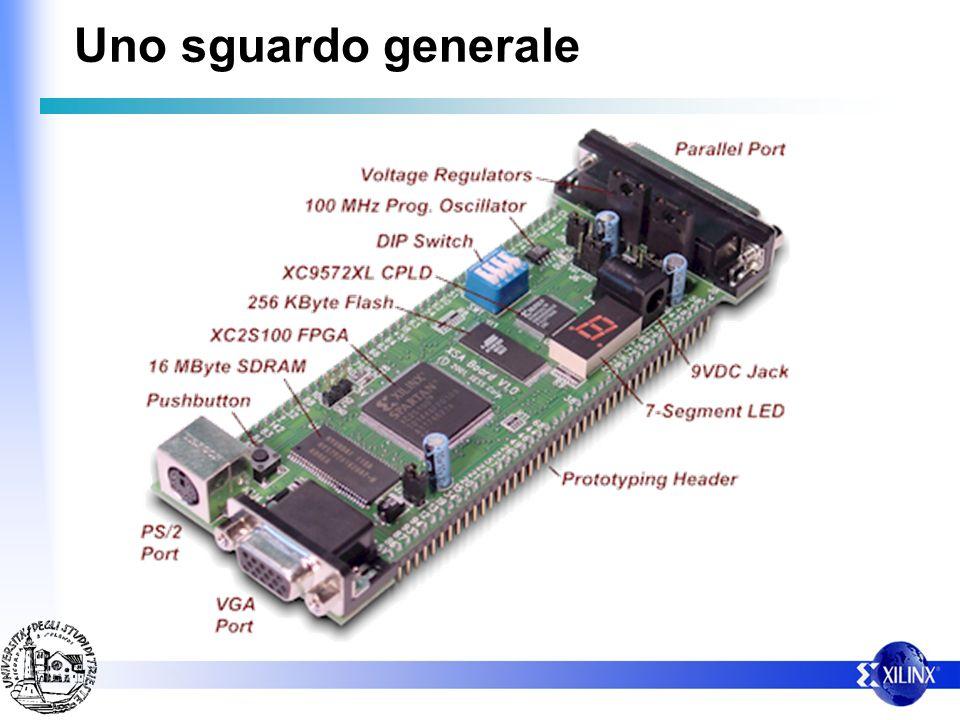 Altre configurazioni della CPLD Emulazione del cavo XILINX (parallel cable III) (configuarzione JTAG) Scrittura di dati nella Flash (programma residente) Sistema di controllo per leggere i dati dalla flash e fornirli alla Spartan (configurata come Slave parallelo)