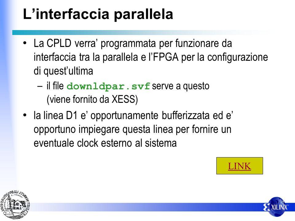 Linterfaccia parallela Dettagli: – C1,C2,C3 servono a configurare la CPLD col protocollo JTAG (TCK,TMS,TDI) – S7 e collegata al TDO (funzioni di contr