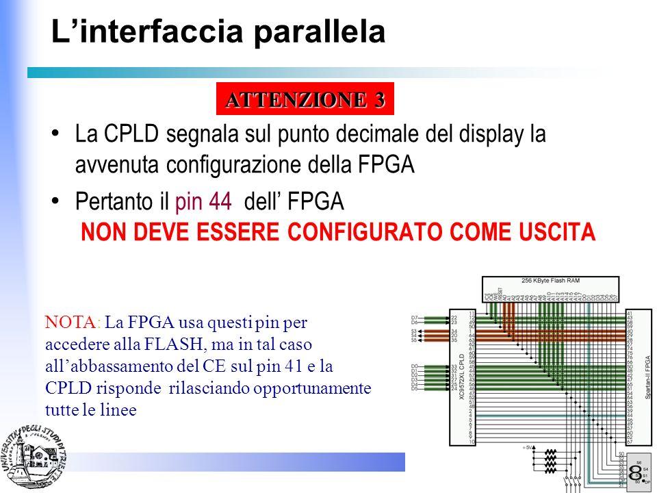 Linterfaccia parallela La linea D7 della PP e impiegata anche per pilotare la linea PROG dellFPGA Pertanto se si abbassa detta linea si ottiene unaspr
