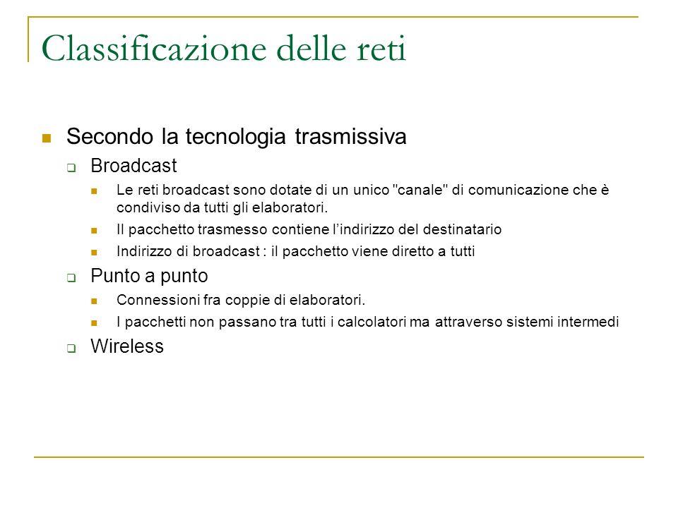 Classificazione delle reti Secondo la tecnologia trasmissiva Broadcast Le reti broadcast sono dotate di un unico canale di comunicazione che è condiviso da tutti gli elaboratori.
