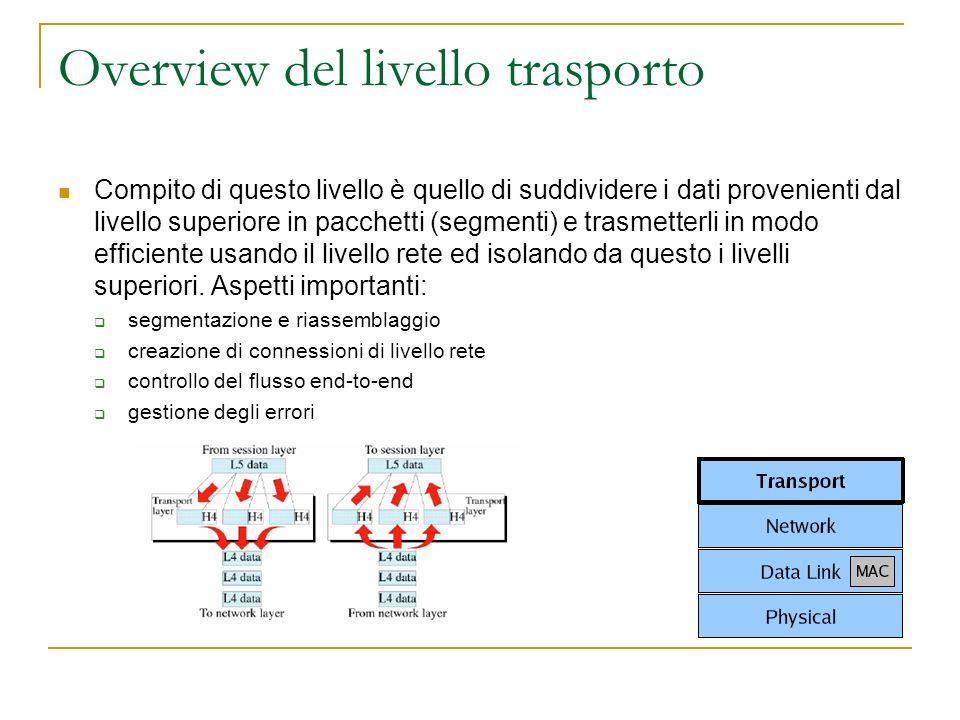 Overview del livello trasporto Compito di questo livello è quello di suddividere i dati provenienti dal livello superiore in pacchetti (segmenti) e trasmetterli in modo efficiente usando il livello rete ed isolando da questo i livelli superiori.