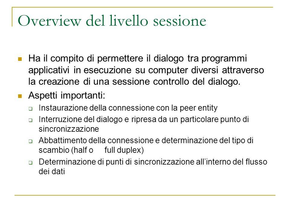 Overview del livello sessione Ha il compito di permettere il dialogo tra programmi applicativi in esecuzione su computer diversi attraverso la creazione di una sessione controllo del dialogo.