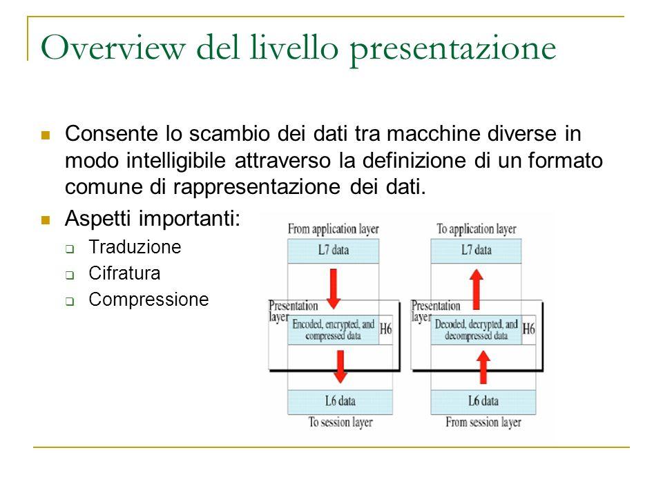 Overview del livello presentazione Consente lo scambio dei dati tra macchine diverse in modo intelligibile attraverso la definizione di un formato comune di rappresentazione dei dati.