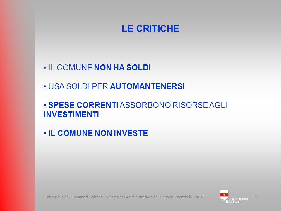 1 Fabio Bovolon - Comune di Bolzano – Ripartizione Amministrazione delle Risorse Finanziarie - 2010 LE CRITICHE IL COMUNE NON HA SOLDI USA SOLDI PER AUTOMANTENERSI SPESE CORRENTI ASSORBONO RISORSE AGLI INVESTIMENTI IL COMUNE NON INVESTE