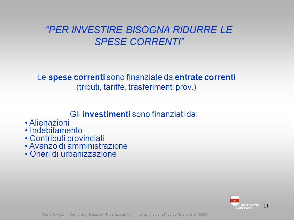 10 Fabio Bovolon - Comune di Bolzano – Ripartizione Amministrazione delle Risorse Finanziarie - 2010 RIDURRE LA SPESA CORRENTE RIDURRE LA QUALITA DEI