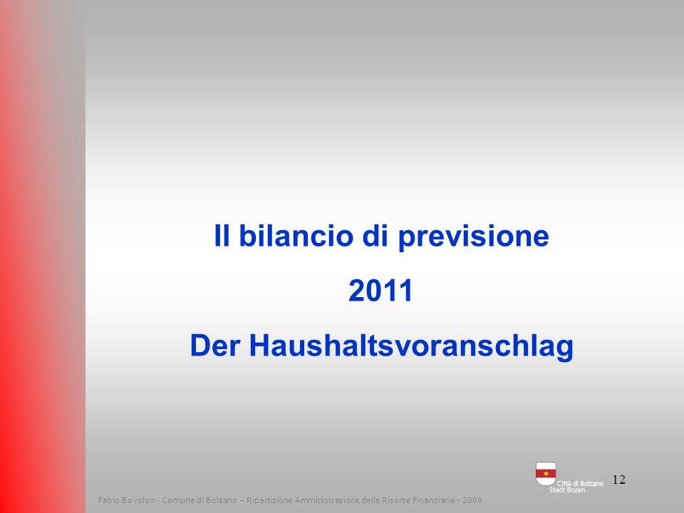 11 Fabio Bovolon - Comune di Bolzano – Ripartizione Amministrazione delle Risorse Finanziarie - 2009 PER INVESTIRE BISOGNA RIDURRE LE SPESE CORRENTI L
