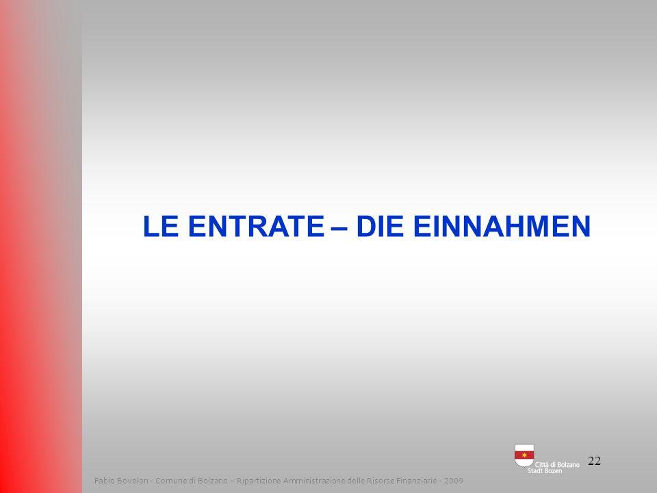 21 Fabio Bovolon - Comune di Bolzano – Ripartizione Amministrazione delle Risorse Finanziarie - 2009 Il bilancio del cittadino Der Haushalt des Bürger