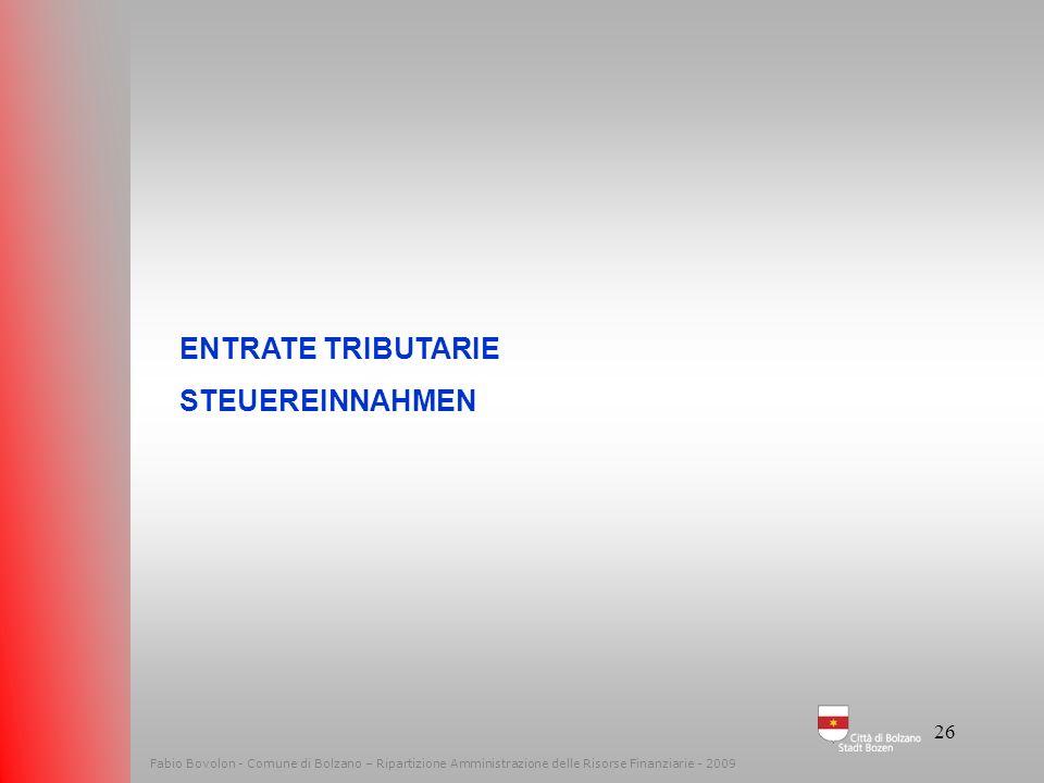 25 Entrate correnti Laufende Einnahmen Le entrate – Die Einnahmen Fabio Bovolon - Comune di Bolzano – Ripartizione Amministrazione delle Risorse Finan