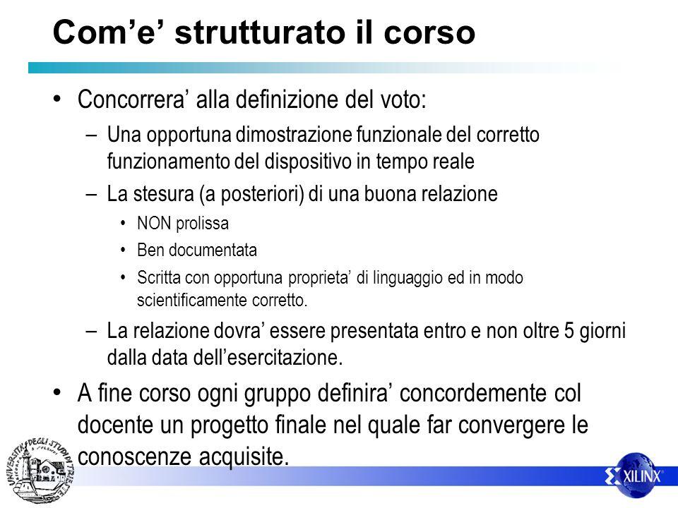 Come strutturato il corso Concorrera alla definizione del voto: – Una opportuna dimostrazione funzionale del corretto funzionamento del dispositivo in