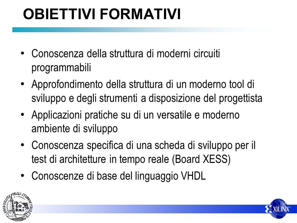 OBIETTIVI FORMATIVI Conoscenza della struttura di moderni circuiti programmabili Approfondimento della struttura di un moderno tool di sviluppo e degl