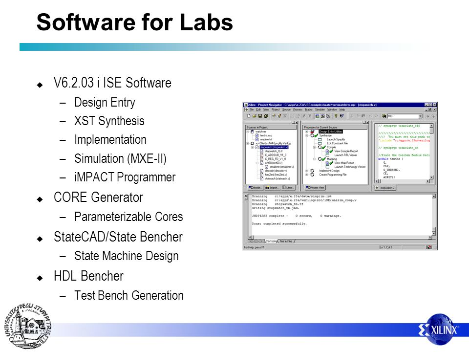 Software for Labs V6.2.03 i ISE Software – Design Entry – XST Synthesis – Implementation – Simulation (MXE-II) – iMPACT Programmer CORE Generator – Pa