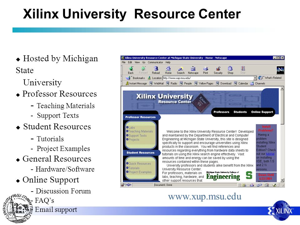 Xilinx University Resource Center Hosted by Michigan State University Professor Resources - Teaching Materials - Support Texts Student Resources - Tut