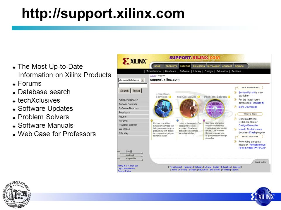 http://support.xilinx.com The Most Up-to-Date Information on Xilinx Products Forums Database search techXclusives Software Updates Problem Solvers Software Manuals Web Case for Professors