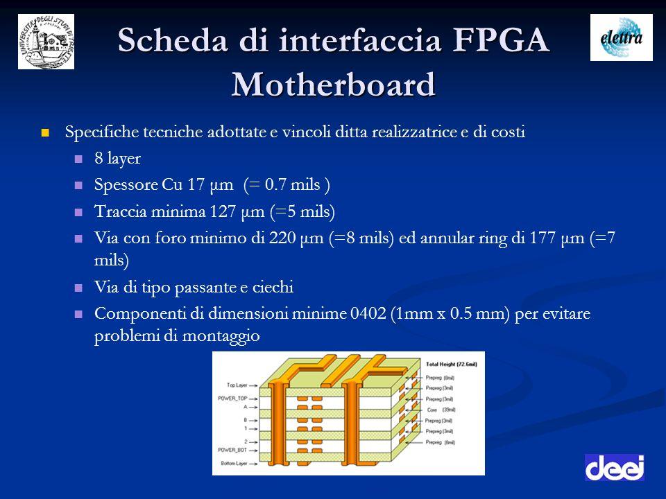Scheda di interfaccia FPGA Motherboard Specifiche tecniche adottate e vincoli ditta realizzatrice e di costi 8 layer Spessore Cu 17 μm (= 0.7 mils ) T