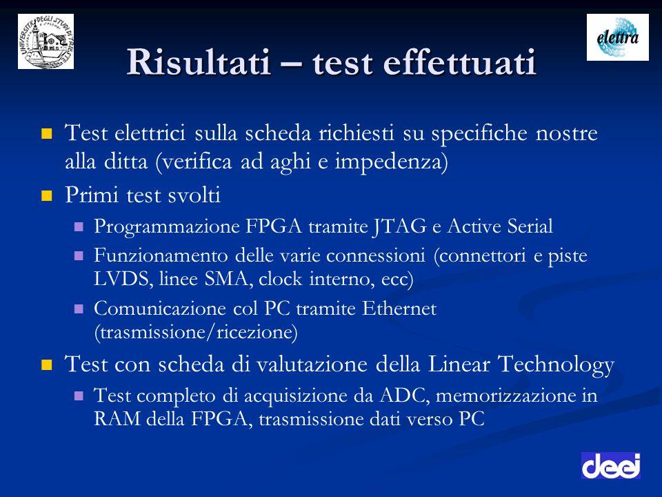 Risultati – test effettuati Test elettrici sulla scheda richiesti su specifiche nostre alla ditta (verifica ad aghi e impedenza) Primi test svolti Pro