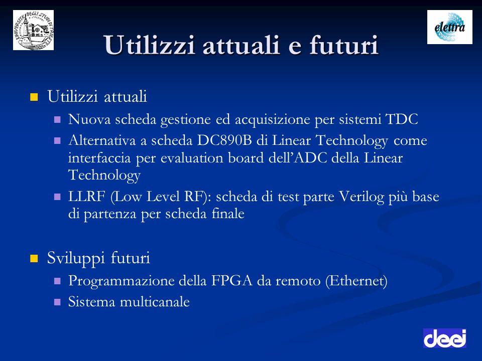 Utilizzi attuali e futuri Utilizzi attuali Nuova scheda gestione ed acquisizione per sistemi TDC Alternativa a scheda DC890B di Linear Technology come