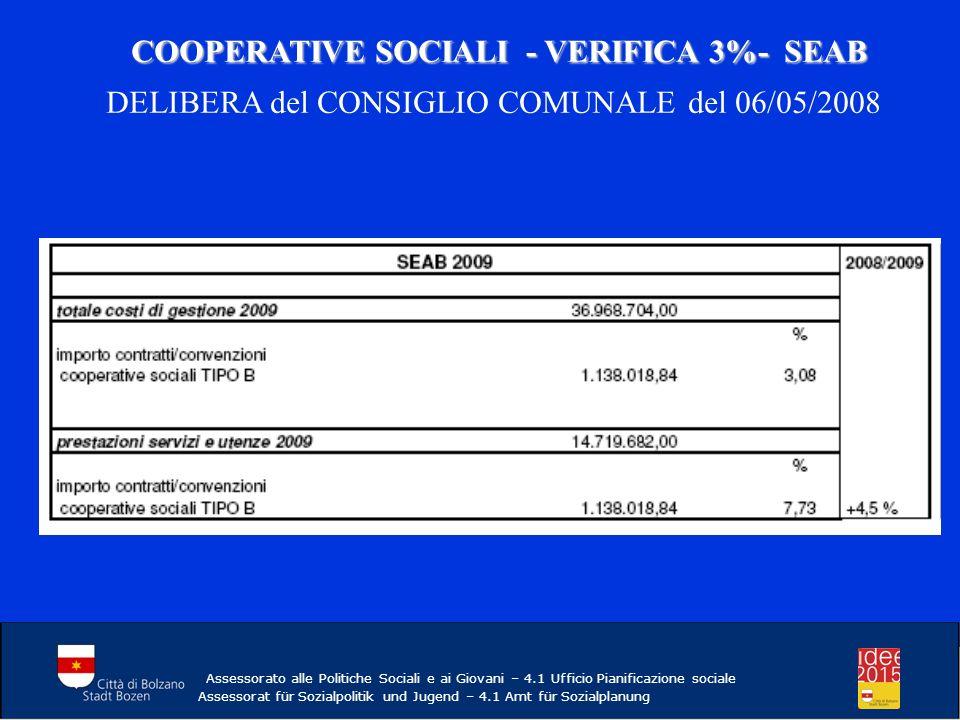 COOPERATIVE SOCIALI - VERIFICA 3%- SEAB COOPERATIVE SOCIALI - VERIFICA 3%- SEAB DELIBERA del CONSIGLIO COMUNALE del 06/05/2008 Assessorato alle Politiche Sociali e ai Giovani – 4.1 Ufficio Pianificazione sociale Assessorat für Sozialpolitik und Jugend – 4.1 Amt für Sozialplanung
