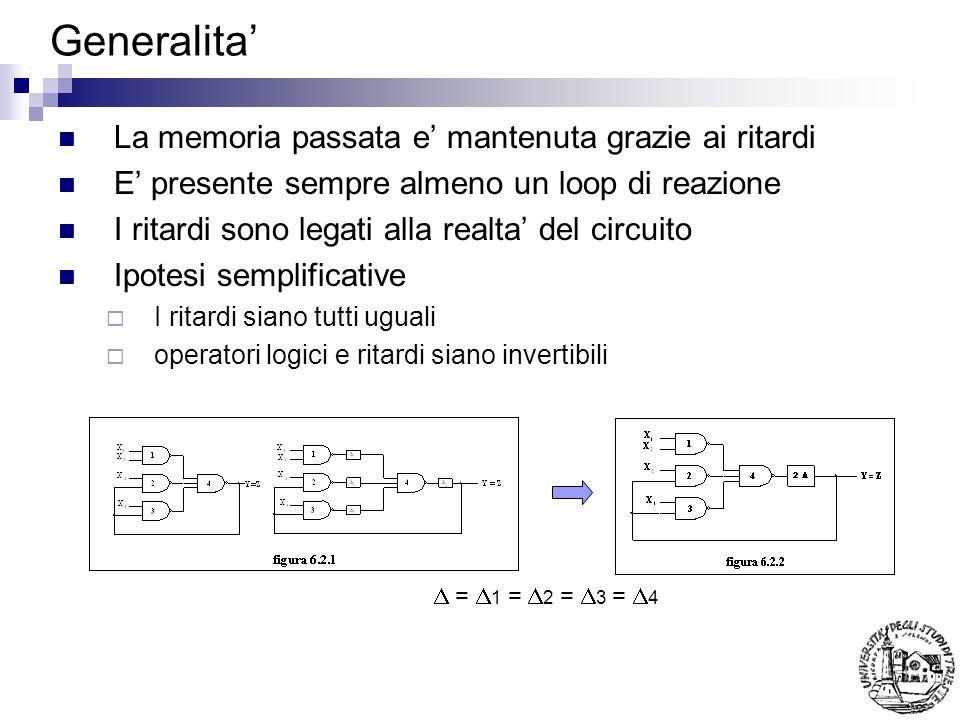 Matrice primitiva delle sequenze Esempio: Si voglia riconoscere la sequenza 00-01-11-10