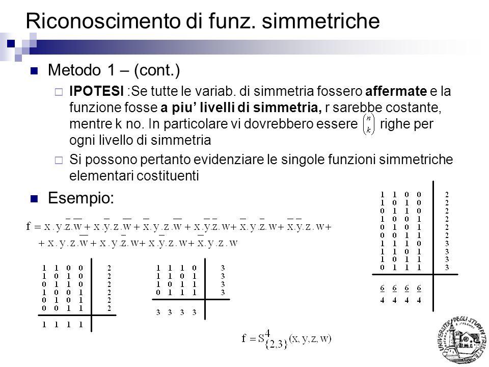 Riconoscimento di funz. simmetriche Metodo 1 – (cont.) IPOTESI :Se tutte le variab. di simmetria fossero affermate e la funzione fosse a piu livelli d