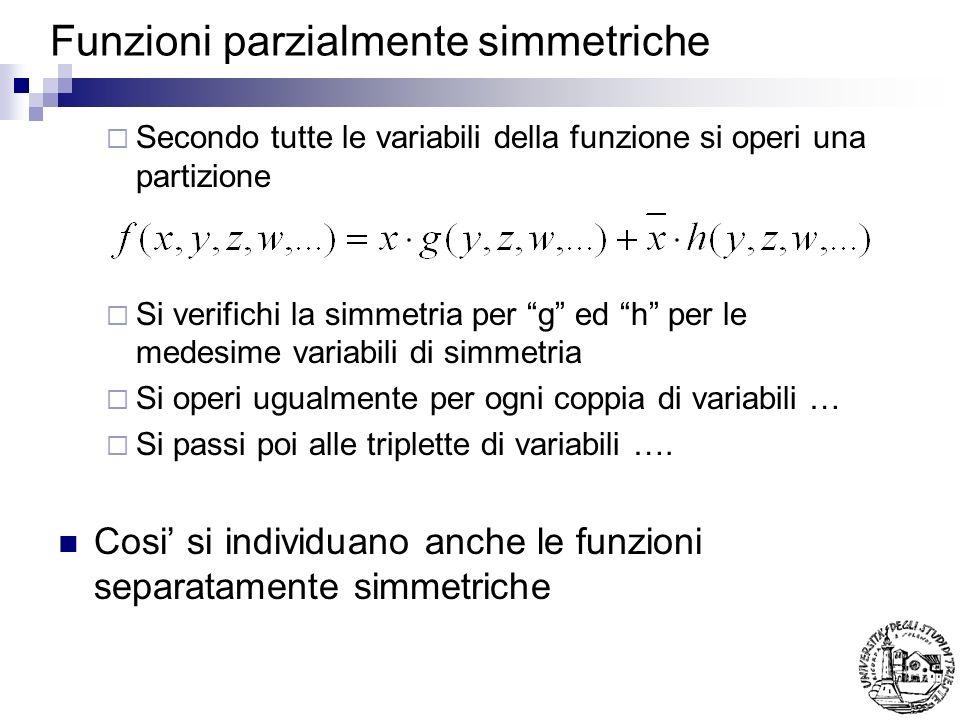 Funzioni parzialmente simmetriche Secondo tutte le variabili della funzione si operi una partizione Si verifichi la simmetria per g ed h per le medesi