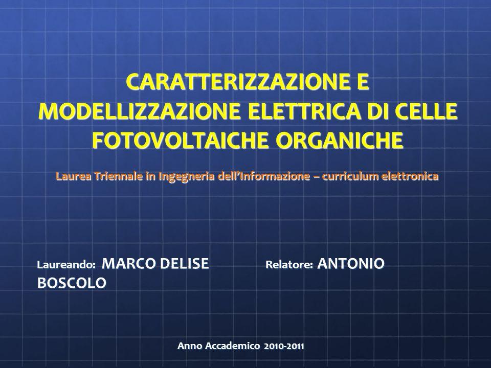 Laurea Triennale in Ingegneria dellInformazione – curriculum elettronica Laurea Triennale in Ingegneria dellInformazione – curriculum elettronica Laureando: MARCO DELISE Relatore: ANTONIO BOSCOLO Anno Accademico 2010-2011 Anno Accademico 2010-2011 CARATTERIZZAZIONE E MODELLIZZAZIONE ELETTRICA DI CELLE FOTOVOLTAICHE ORGANICHE