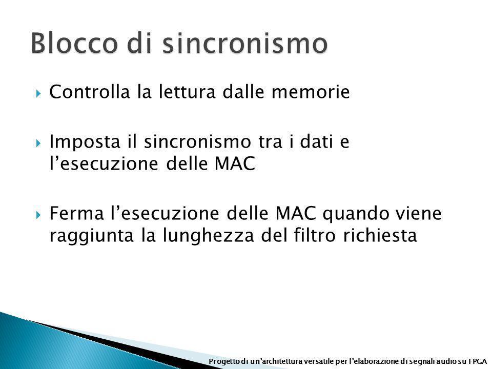 Controlla la lettura dalle memorie Imposta il sincronismo tra i dati e lesecuzione delle MAC Ferma lesecuzione delle MAC quando viene raggiunta la lun