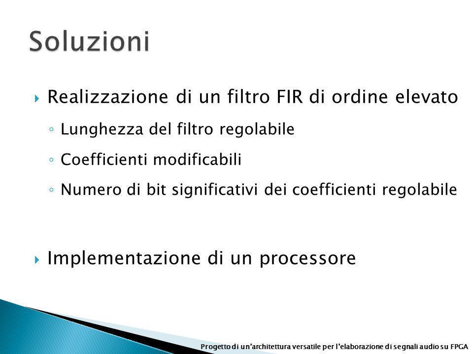 Realizzazione di un filtro FIR di ordine elevato Lunghezza del filtro regolabile Coefficienti modificabili Numero di bit significativi dei coefficient