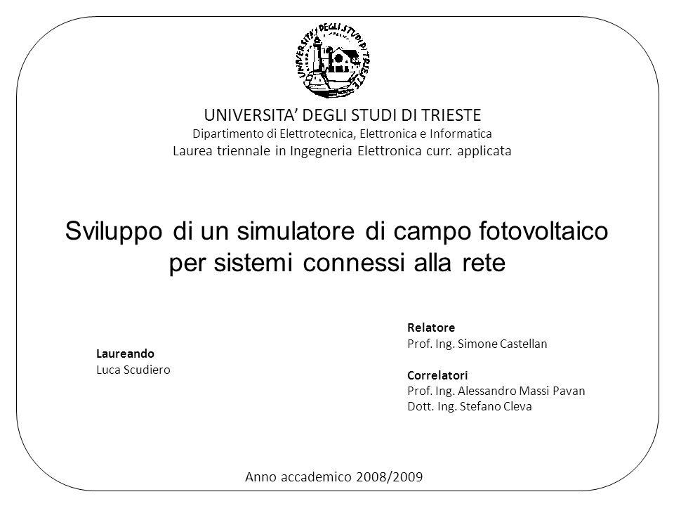 Sviluppo di un simulatore di campo fotovoltaico per sistemi connessi alla rete Laureando Luca Scudiero Relatore Prof.