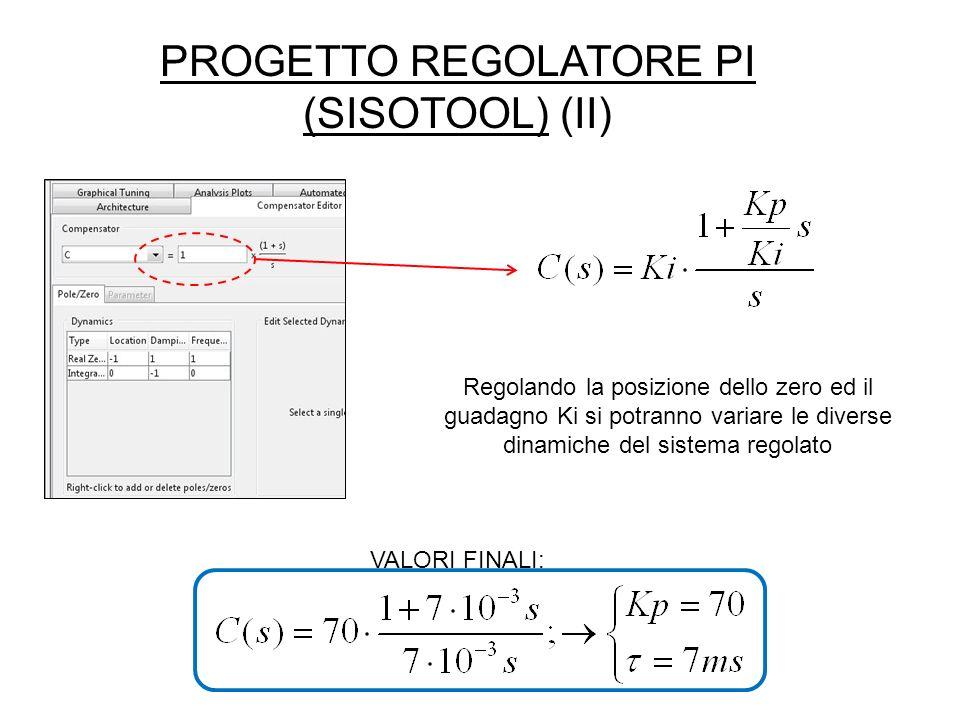 PROGETTO REGOLATORE PI (SISOTOOL) (II) VALORI FINALI: Regolando la posizione dello zero ed il guadagno Ki si potranno variare le diverse dinamiche del